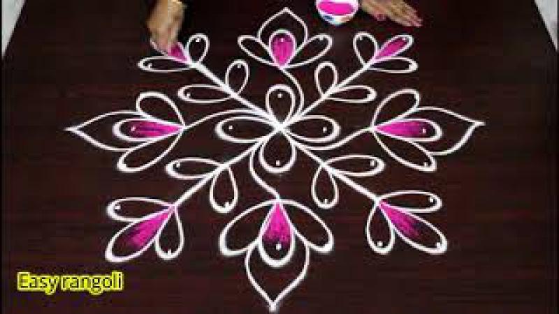Easy flower rangoli designs with colors || How to draw simple kolam designs || muggulu design