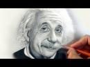 Портрет А. Эйнштейна карандашом в стиле фотореализма на маленьком формате.