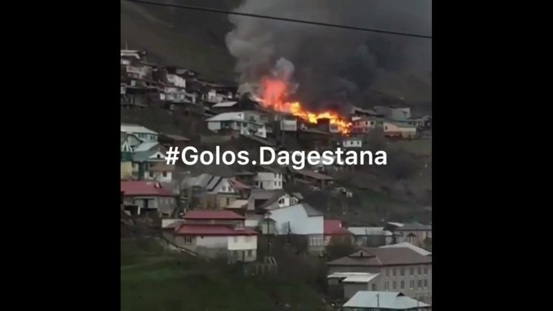 Сразу семь домовладений охватило пламенем в селении Генух, Цунтинского района. Возгорание произошло сегодня днем. По данным МЧС