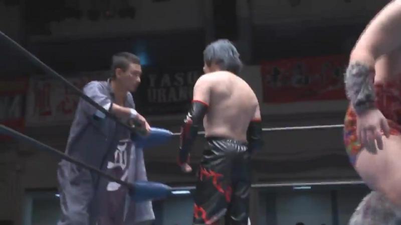 Dinosaur Takuma, Kotaro Yoshino (c) vs. Daigoro Kashiwa, Yasu Urano vs. Isami Kodaka, Kunio Toshima (K-DOJO - Tokyo Super Big Sh