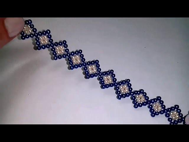 Браслетик из бусин. Лёгкий узор. Beaded bracelet. Easy