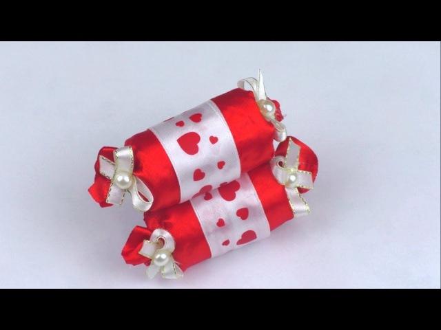 Конфетка из лент в стиле Канзаши DIY