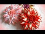 Красивые цветы канзаши из узкой ленты 0,6 см, МК Лерита