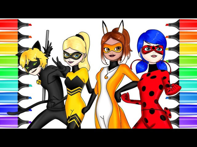 Miraculous Ladybug Coloring Pages All Heroes | How to Draw Miraculous Ladybug, Queen Bee, Volpina