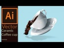 Drawing a vector ceramic coffee cup with coffee splash in Adobe Illustrator Fast Draw