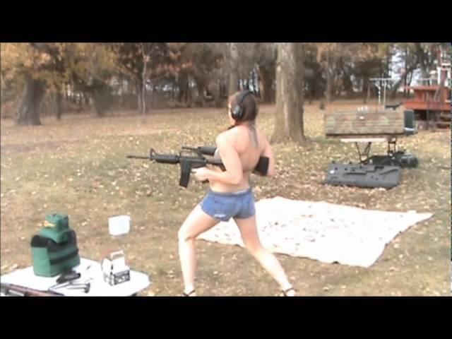 Hot Girl Dual Wielding AR-15's
