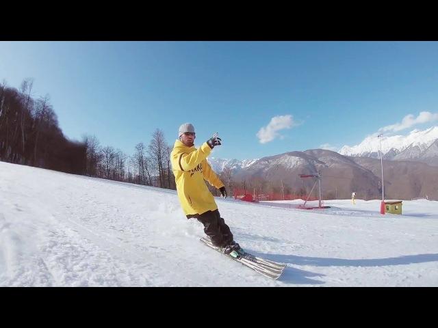 Скоростной и красивый спуск на лыжах
