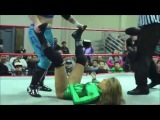 Girl wrestler kicked hard in the crotch