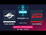 Secret vs LGD, ESL One Katowice, game 2 [Adekvat, V1lat]