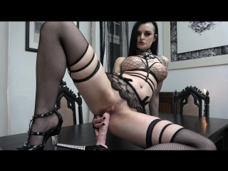 Alissa noir - slutty goth rides and sucks her dildo (1080p) [amateur, gothic girl, solo, masturbation, dildo, lingerie, cowgirl]
