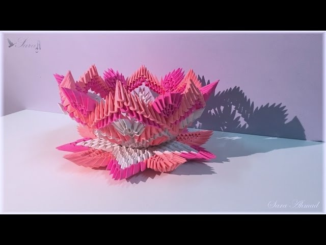 How to make 3d origami lamp flower 4 - part 2