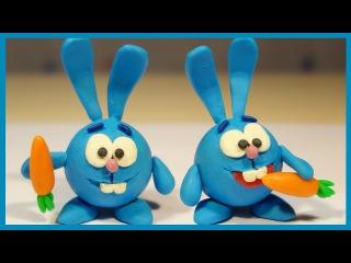 Лепим Смешарика Кроша из пластилина. Plasticine. Play doh Cartoon stop motion.