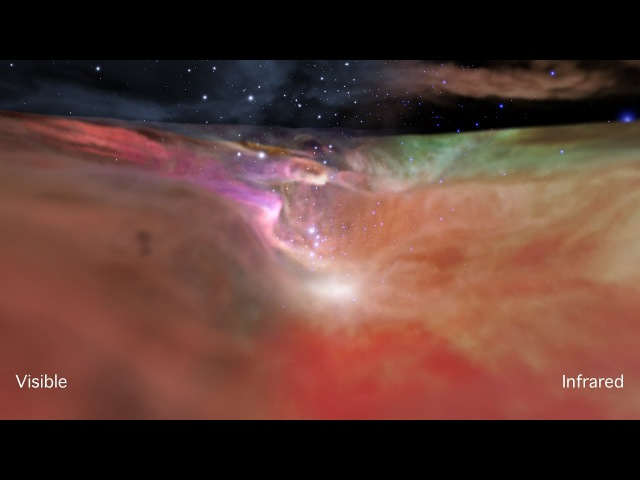 Flight Through the Orion Nebula in Visible and Infrared Light [Ultra HD]