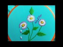 Double Color Thread Daisy Flowers with Lazy Daisy Stitch|Margaritas en Puntada Margarita Doble Color