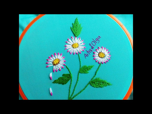 Double Color Thread Daisy Flowers with Lazy Daisy Stitch|Margaritas en Puntada Margarita Doble Color
