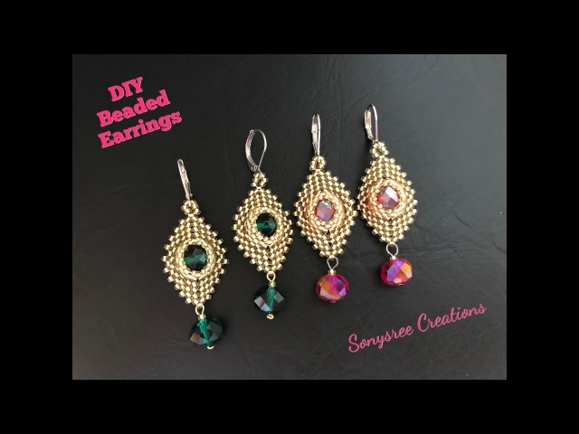 Party Wear Beaded Earrings. Peyote Herringbone stitch.DIY jewelry.Intermediate level 💞