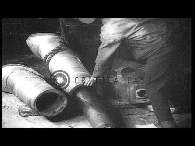 Manufacturing a gun barrel at munitions factory in Germany during World War I. Cy...HD Stock Footage