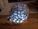 White sea glass stained glass 3D skull - radio-controlled night light