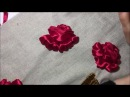 Роза вышитая атласной лентой Rose embroidered with satin ribbon