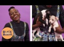 Black Panther's Lupita Nyong'o Plays With Puppies While Answering Fan Questions