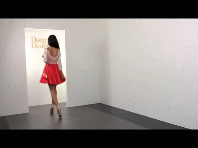 Stella Morgan Lace Bodice Coral Scuba Skater Dress