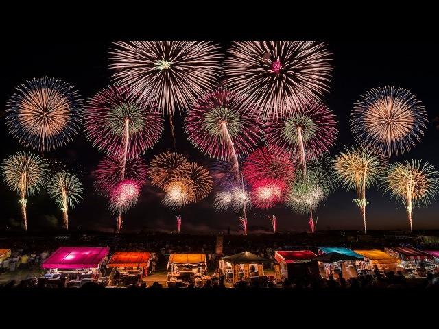 [4K Ultra HD] 酒田の花火ショー 2017 2km幅 超ワイドスターマイン - Sakata Fireworks Show -