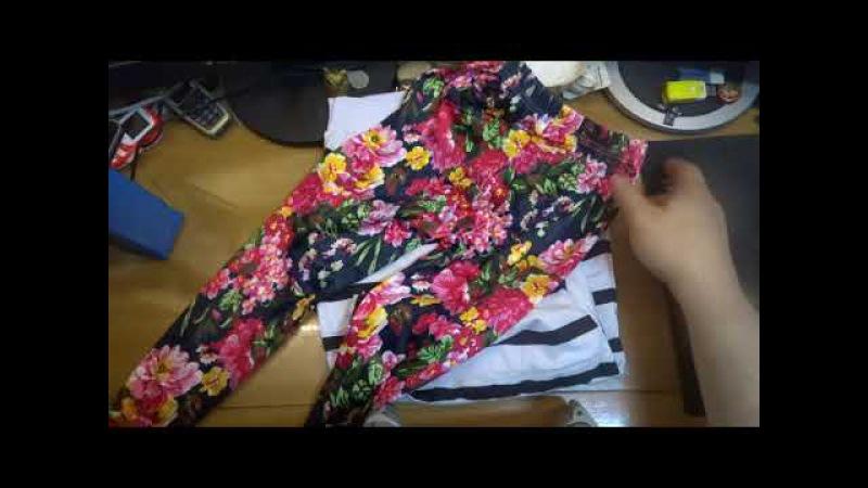096 - Ребенку дети девочки с длинным рукавом полоса цветочные брюки