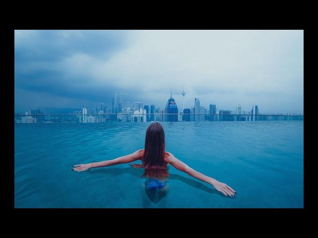 Day of dream in Kuala Lumpur Malaysia 2018 The Petronas Twin Towers. Infinity pool on the 37th floor