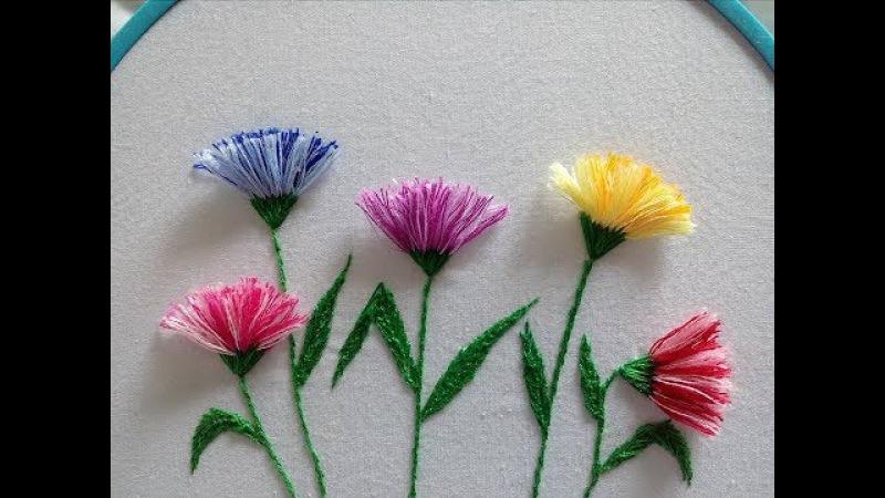Pom pom flower stitch Flores con flecos Hand embroidery