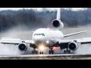 Spectacular MD 11 LANDING and DEPARTURE on a WET RUNWAY 4K