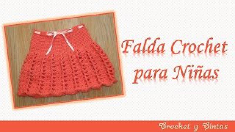 Falda para niña tejida a crochet (ganchillo) con abanicos y punto relieve