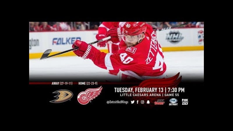 NHL 18 PS4. REGULAR SEASON 2017-2018 Anaheim DUCKS VS Detroit RED WINGS. 02.13.2018. (NBCSN) !