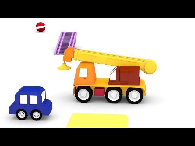 Dessin animé éducatif pour enfants de 4 voitures colorées une Bétonnière