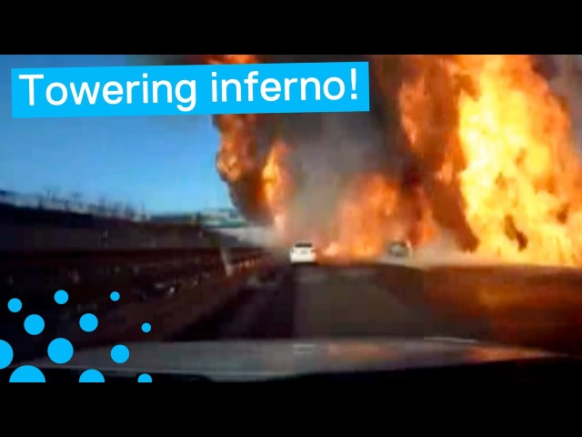 OIL TANKER EXPLOSION CAUSES HUGE FIRE
