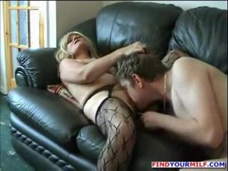 Chubby mature slut fucked on sofa