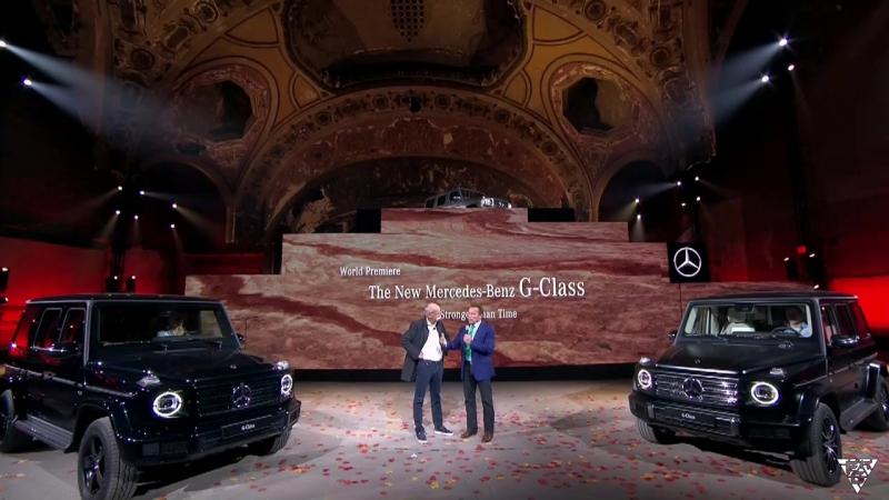 Arnold Schwarzenegger and CEO Dieter Zetsche talk about the new Gclass