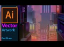Cityscape at Dusk Vector Fantasy Artwork in adobe illustrator