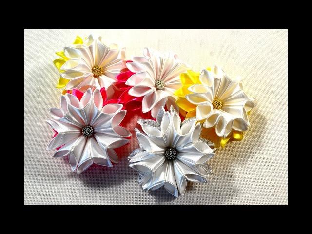 🎄Зимние цветочки-снежинкиНовый лепесток🎀SnowflakeЗефирки из ленты 2.5смTutorialD.I.Y