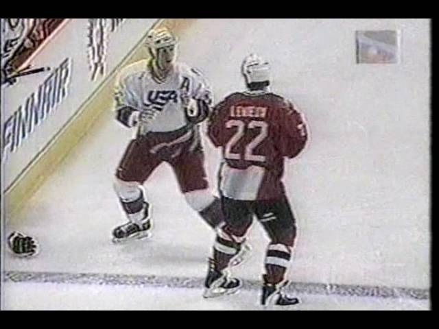 Canada vs USA Brawl World Cup 1996 Keith Primeau vs Bill Guerin R2 Claude Lemieux vs Keith Tkachuk