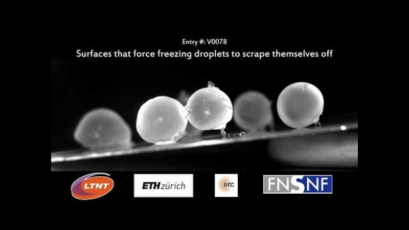 Surfaces that force freezing droplets to scrape themselves off