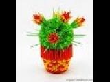 how to make 3D origami cactus Модульное оригами кактус