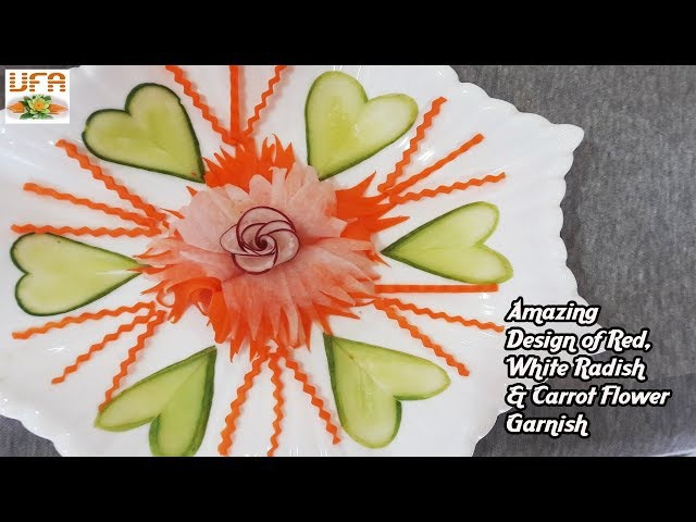 Amazing Design of Red, White Radish Carrot Flower Garnish | Vegetable Rose Decoration DIY