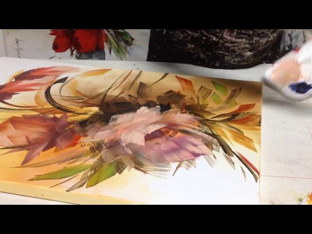 Pequena amostra de como pintar telas com esponja com Luiza Sartori video 1. parte 2.