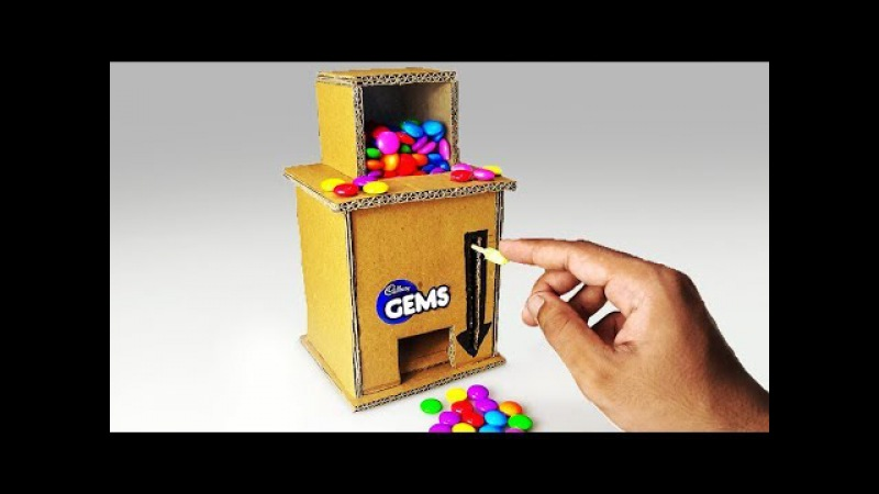 How to make a GEMS CANDY Dispenser Machine from CARDBOARD | DIY at HOME