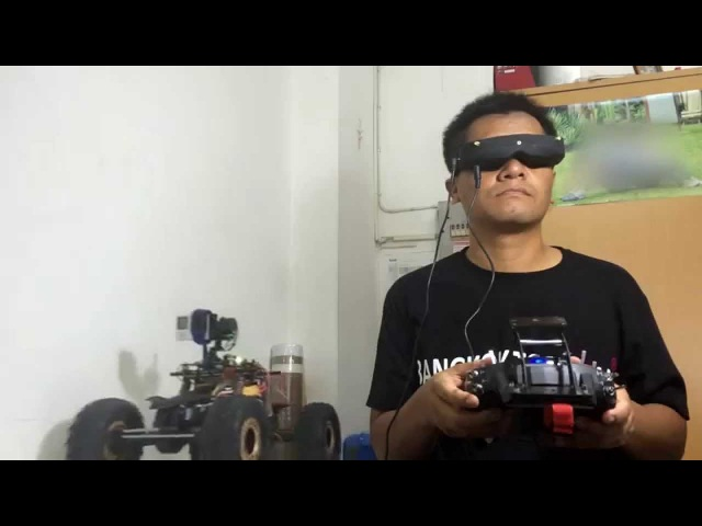 FPV RC CAR 3 Axis gimbal with Head tracker test V.2