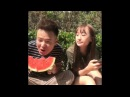 Ridiculous girl spit on Watermelon