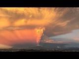 Ускоренная съемка извержение вулкана Кальбуко в Чили    Calbuco volcano eruption in Chile