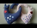 Валентинка, сердечные котики, ч.1. Valentine, heart cats, р.1 Amigurumi. Crochet.