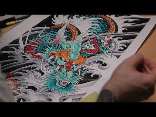 Рисуем эскиз - Японский дракон / Мастер Японской татуировки в Москве