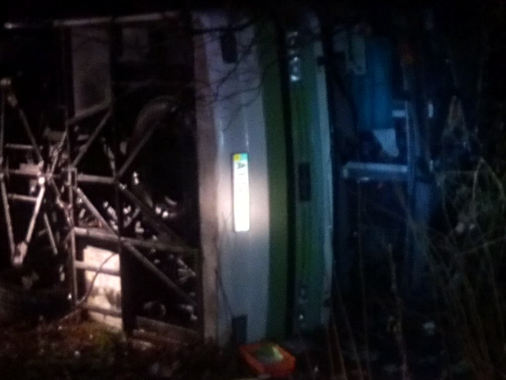 ВКурской области перевернулся киевский автобус